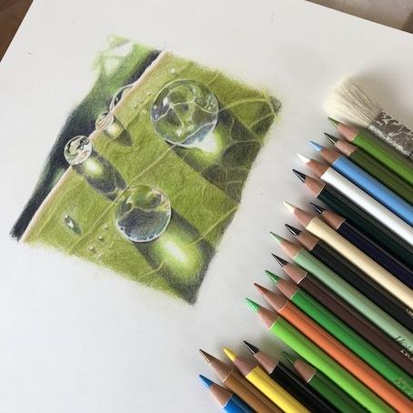 200505色鉛筆画水滴色鉛筆