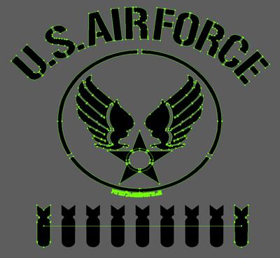 TシャツデザインオールステンシルU.S. Air Force