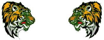 向かい合う2匹のタイガー(虎) デザインTシャツ & ジップUPパーカー