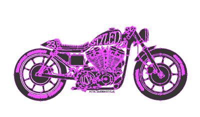 レトロなレース風モーターサイクル デザインTシャツ & スエット ジップパーカー