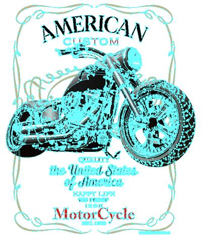 アメリカン カスタムバイク デザインTシャツ & スエット