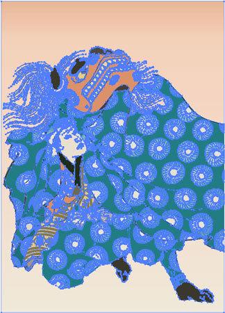 浮世絵 イラスト 獅子舞