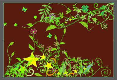 ツタと花のフレームデザイン