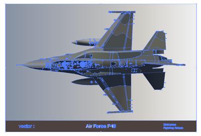 デザインイラスト戦闘機F-16