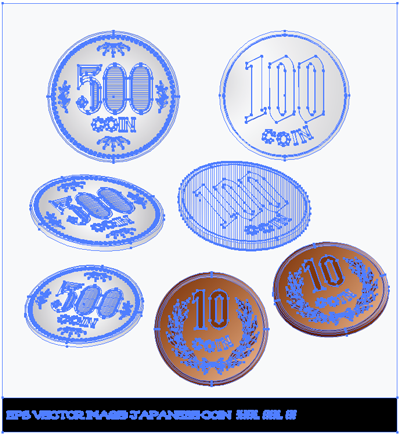 イラスト 500円 100円 10円