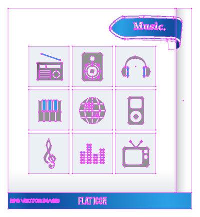 ロゴ フラットアイコン 音楽