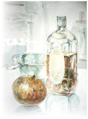 水彩画 静物 玉ねぎと瓶