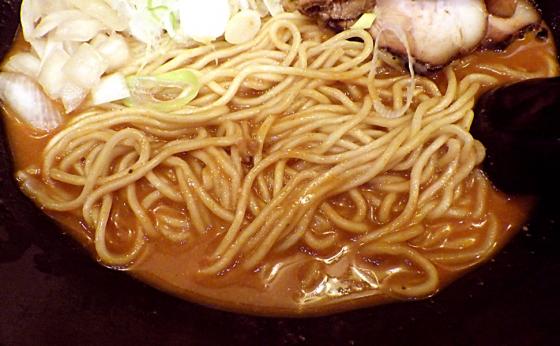 綿麺 四川担々麺風のラーメン(麺のアップ)