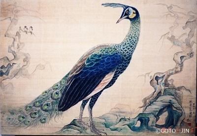 日本画「枯木孔雀図(マクジャク)」 高校2年生 1986年