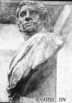 石膏デッサン「ブルータス」 美術予備校 1989年