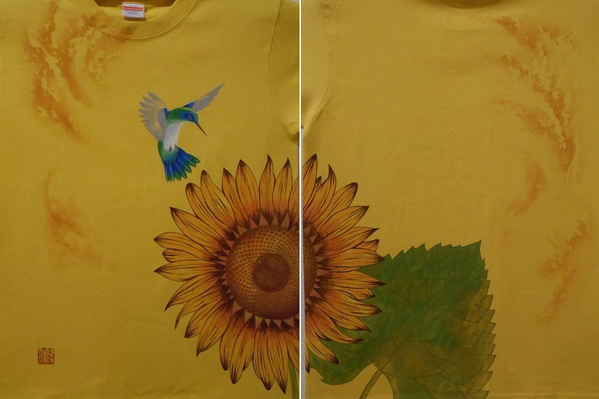 花音 手描きTシャツ 向日葵