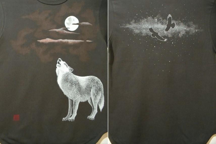 花音手描きTシャツ オオカミ