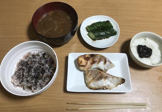 梅柴漬けご飯と焼き魚定食