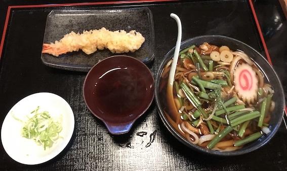 山菜うどん+海老天