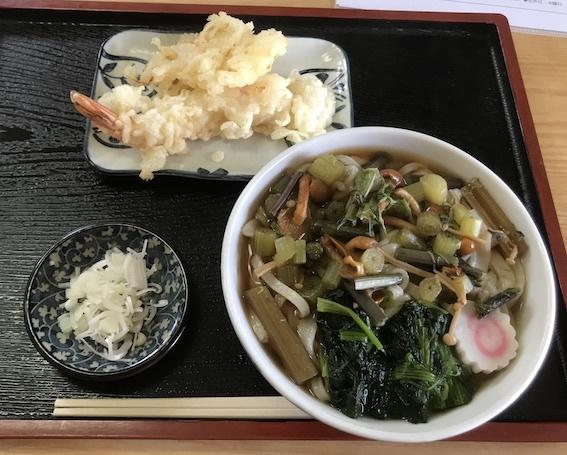 山菜うどん760、天ぷら420