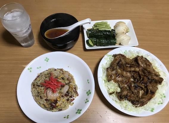 焼肉と炒飯定食