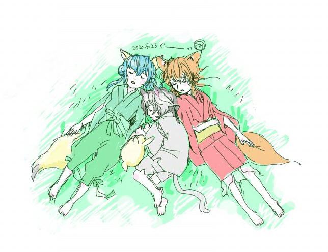うみさん画:狐っ娘姉妹と、黒猫ゴロちゃんお昼寝中