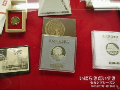 「テクノコスモスの記念メダル」。茶色いカバー台紙もあった。