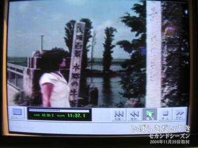 (旧)北利根橋にてバスから降りると、「茨城百景 水郷の牛堀」の標識と、右手には見慣れた「茨城百景 水郷牛堀」が!