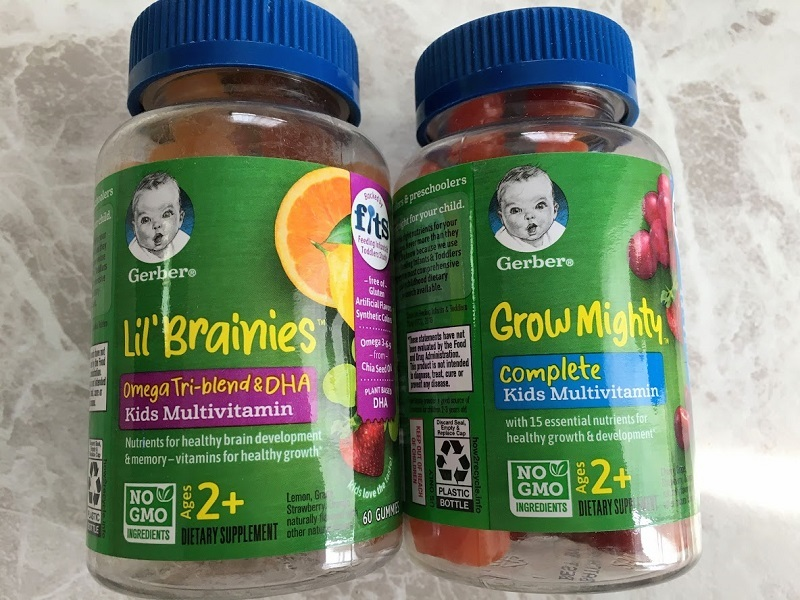 GerberのサプリGrow Mightyと Lil Brainiesの写真
