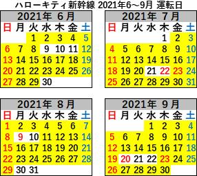 ハローキティ新幹線運転日2021年6-9月