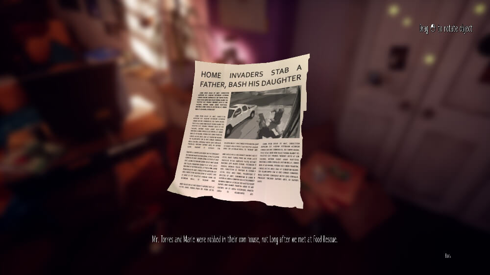 Maries room スクショ タレス氏とマリーが強盗に襲われたことを伝える記事