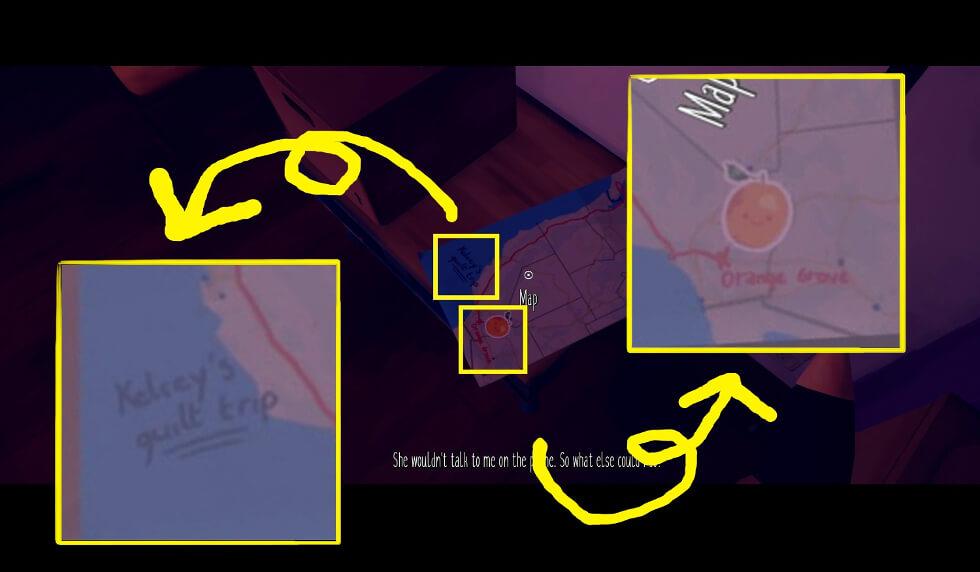 Maries room スクショ 2042年のマリーの部屋にあるマップとケルシーのギルト・トリップ min