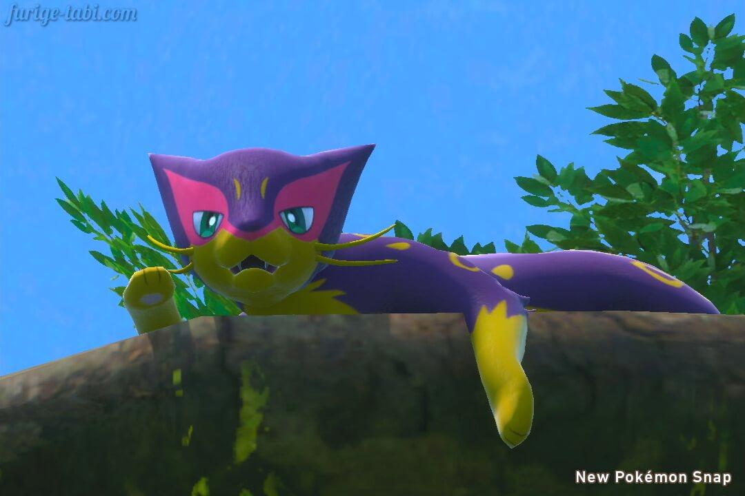 Newポケモンスナップ スクリーンショット ミッケジャングル 昼 樹上でくつろぐレパルダス