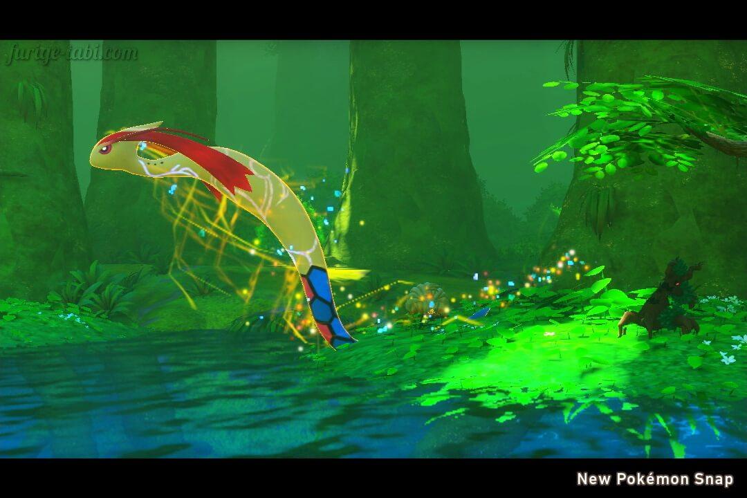 Newポケモンスナップ スクリーンショット 樹海 トキシキの森 イルミナポケモン 跳躍するミロカロス