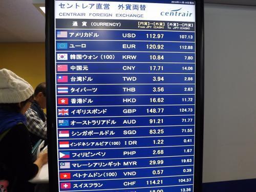 2016-11 中部国際空港 本日のレート