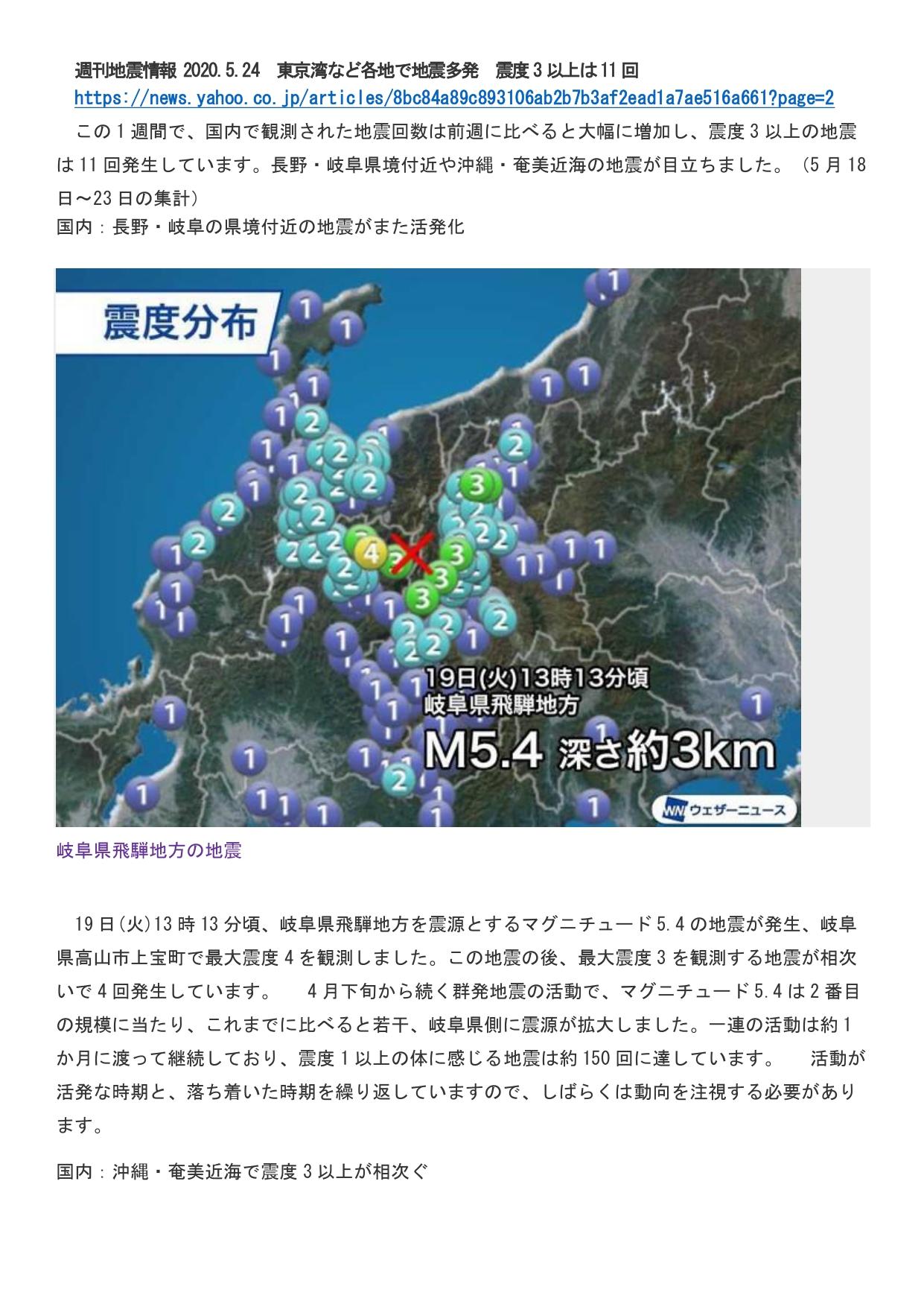 5月25日掲載 国内地震 長野岐阜