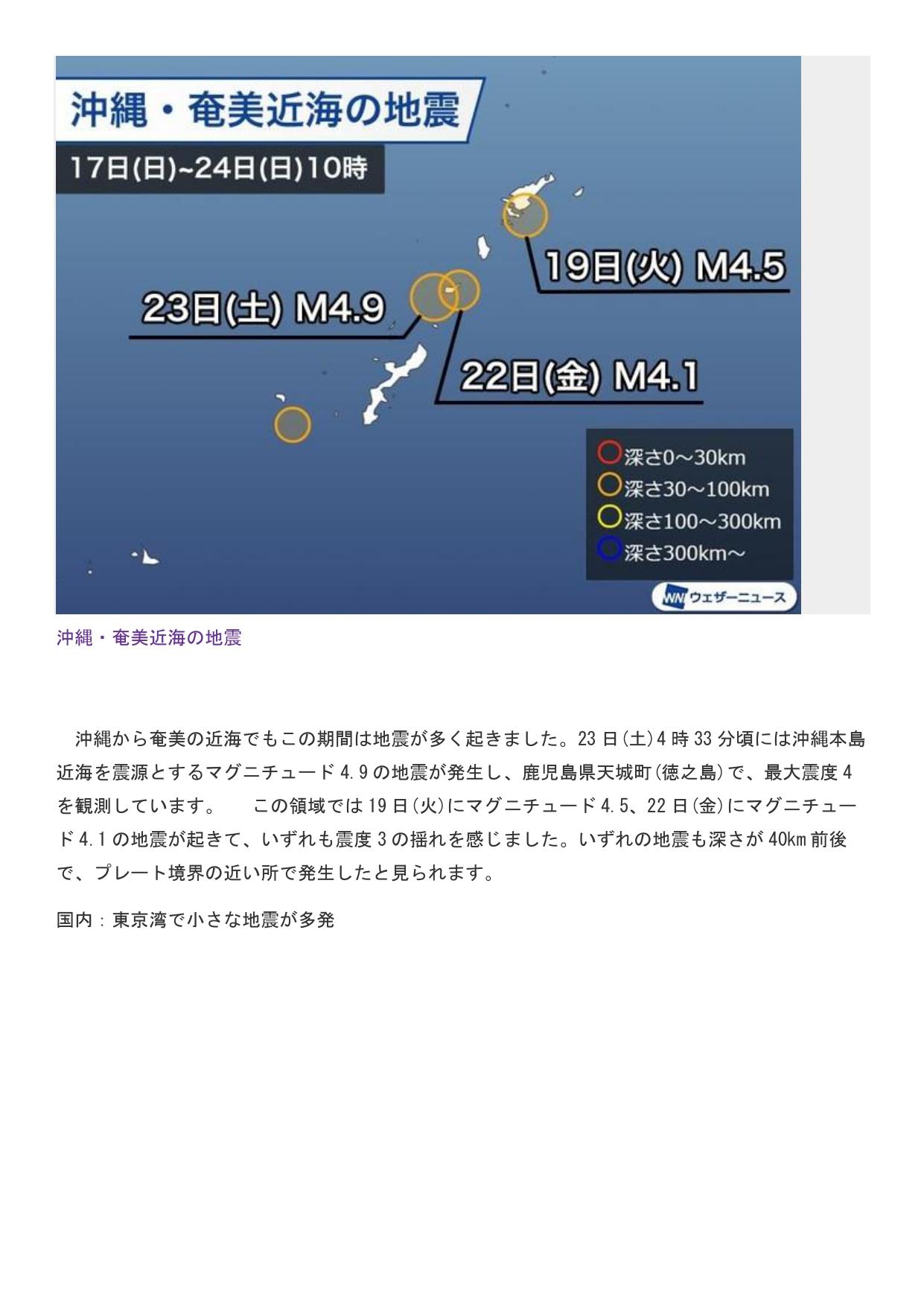 5月25日掲載 国内地震 奄美沖縄