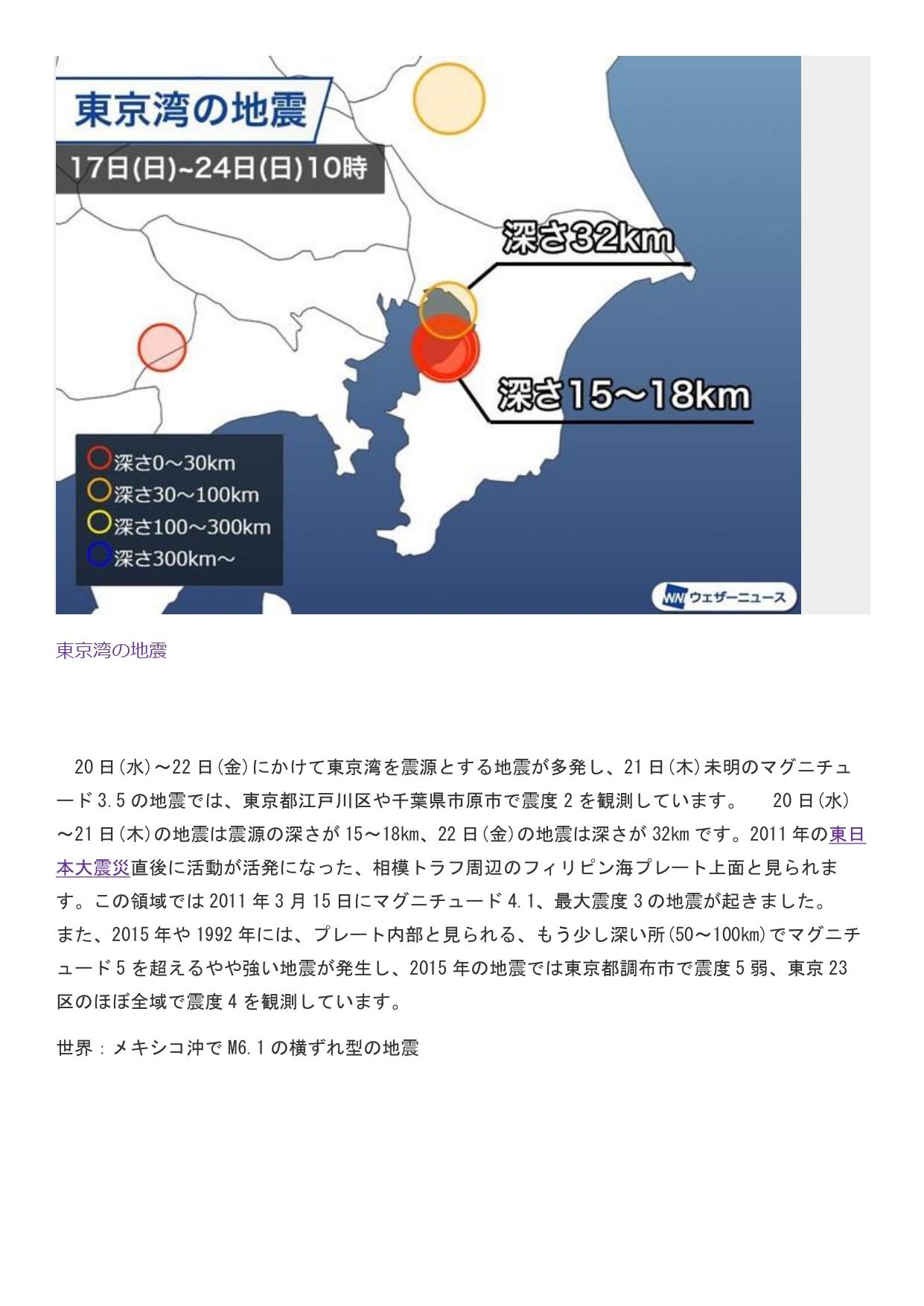 5月25日掲載 国内地震 東京湾