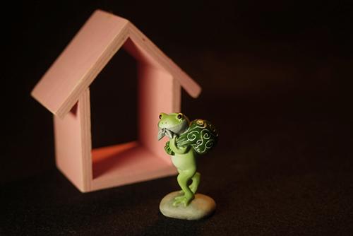 ツバキアキラが撮ったカエルのコポー。自宅に帰るのか、人様の家に侵入しようとしているのか、なんだか怪しいドロボウスタイルのコポタロウ。