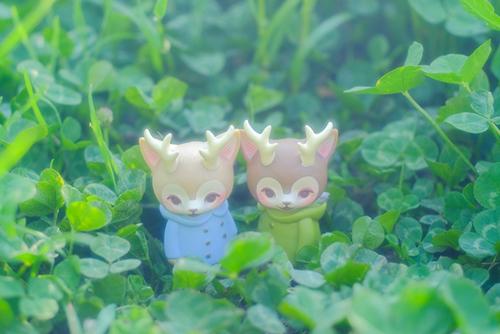 ツバキアキラが撮った、VAG・MORRIS、通称・つのねこ。清々しい緑の中にかくれんぼしている、つのねこ達。