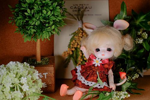 ツバキアキラが撮った、LOONGSOUL・JomeeのJun。いつものキノコの帽子は脱いで、ネズミのお耳で、小さなミモザのブーケの前で、おすまし、おすまし。