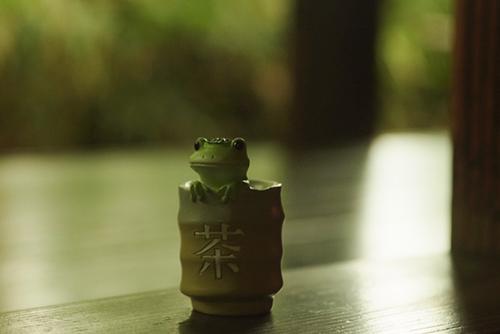 ツバキアキラが撮ったカエルのフィギュア。涼しい風が吹き渡る縁側で、お茶を楽しんでいるコポタロウ。