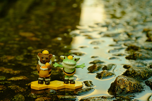 ツバキアキラが撮ったカエルのフィギュア、コポー。川の水が全部ハチミツだったらいいな、と思っているコポタロウとクマくん。