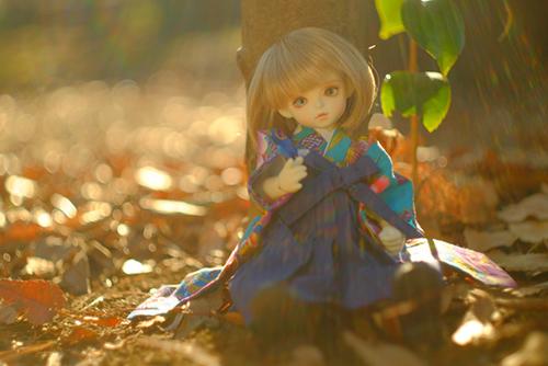 ROSEN LIED、Tuesday's child、通称・火曜子のチェルシー。落ち葉のじゅうたんの上で、晴れ着姿のチェルシー。