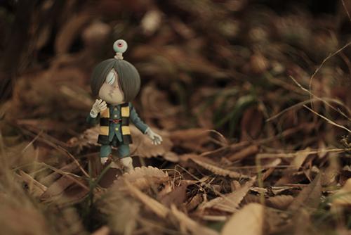 ツバキアキラが撮った、海洋堂・タケヤ式自在置物・鬼太郎。ゲゲゲの森は、落ち葉の候。