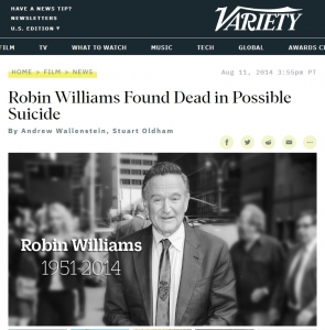 Variety Robin Williams Found Dead in Possible Suicide