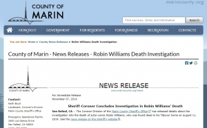 County of Marin - News Releases - Robin Williams Death Investigation