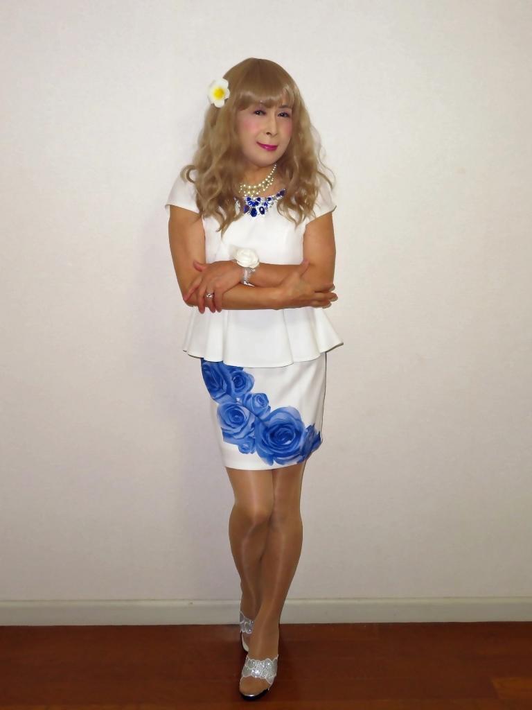 青バラミニスカビジュ飾りトップスA(2)