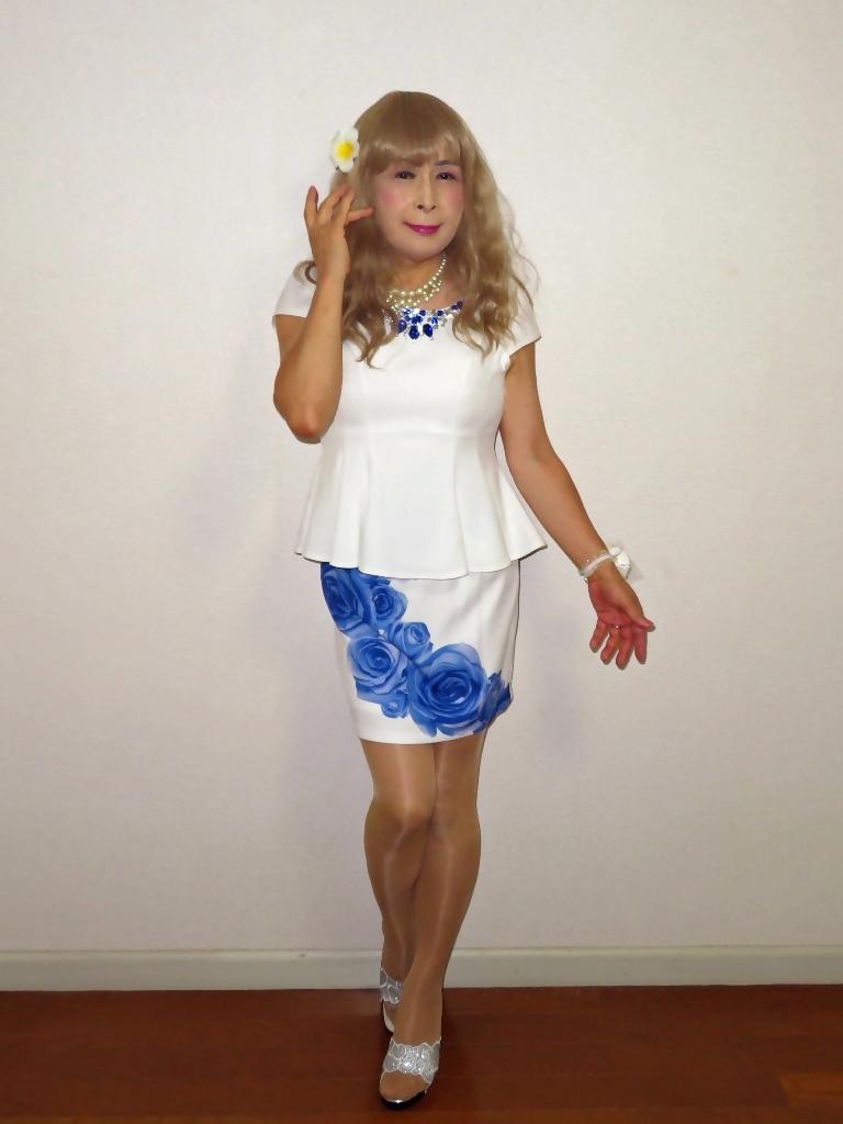 青バラミニスカビジュ飾りトップスA(1)
