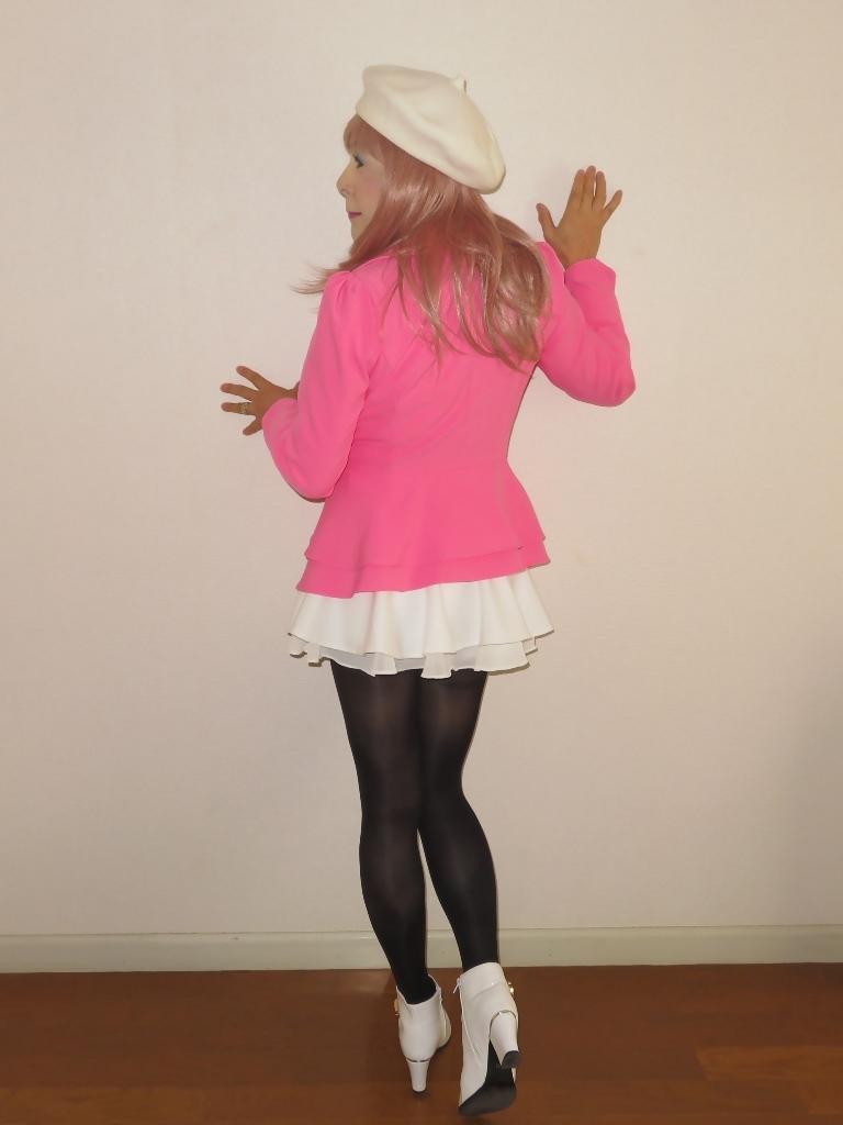 ピンクジャケット白ミニフレア室内A(7)