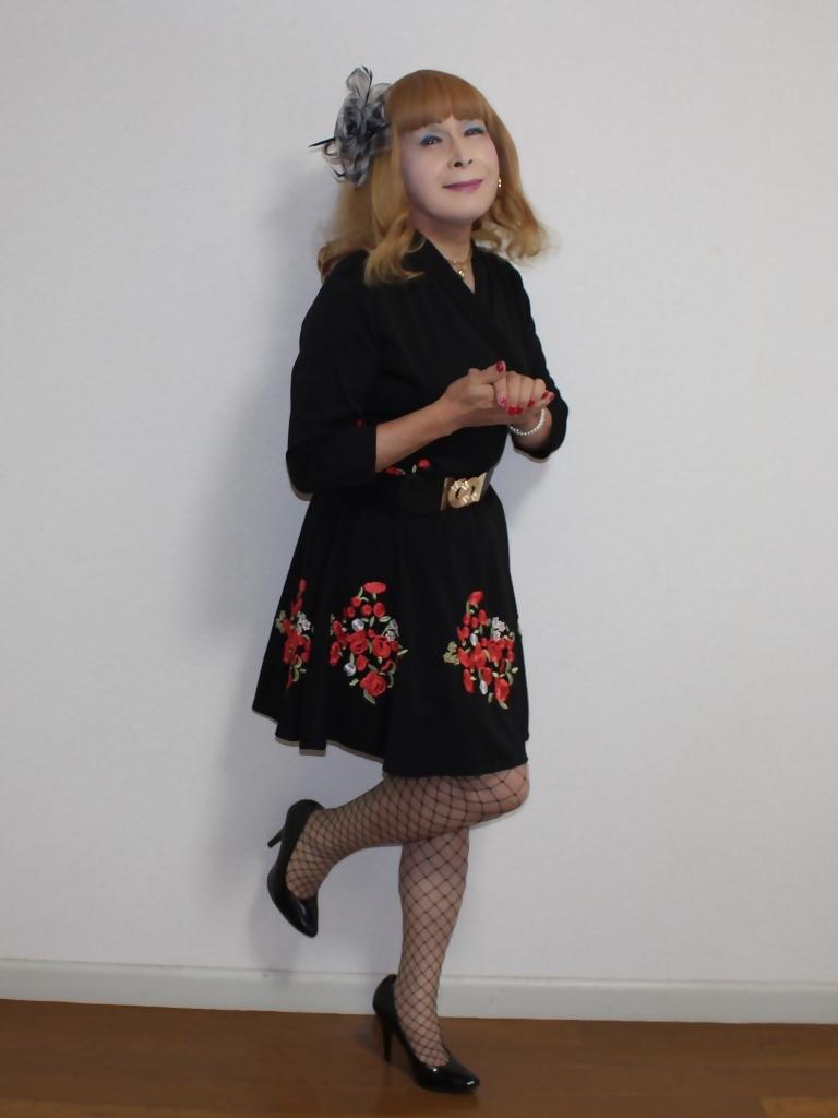 黒花柄刺繍ショートワンピA(6)