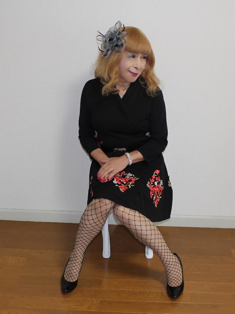 黒花柄刺繍ショートワンピB(6)