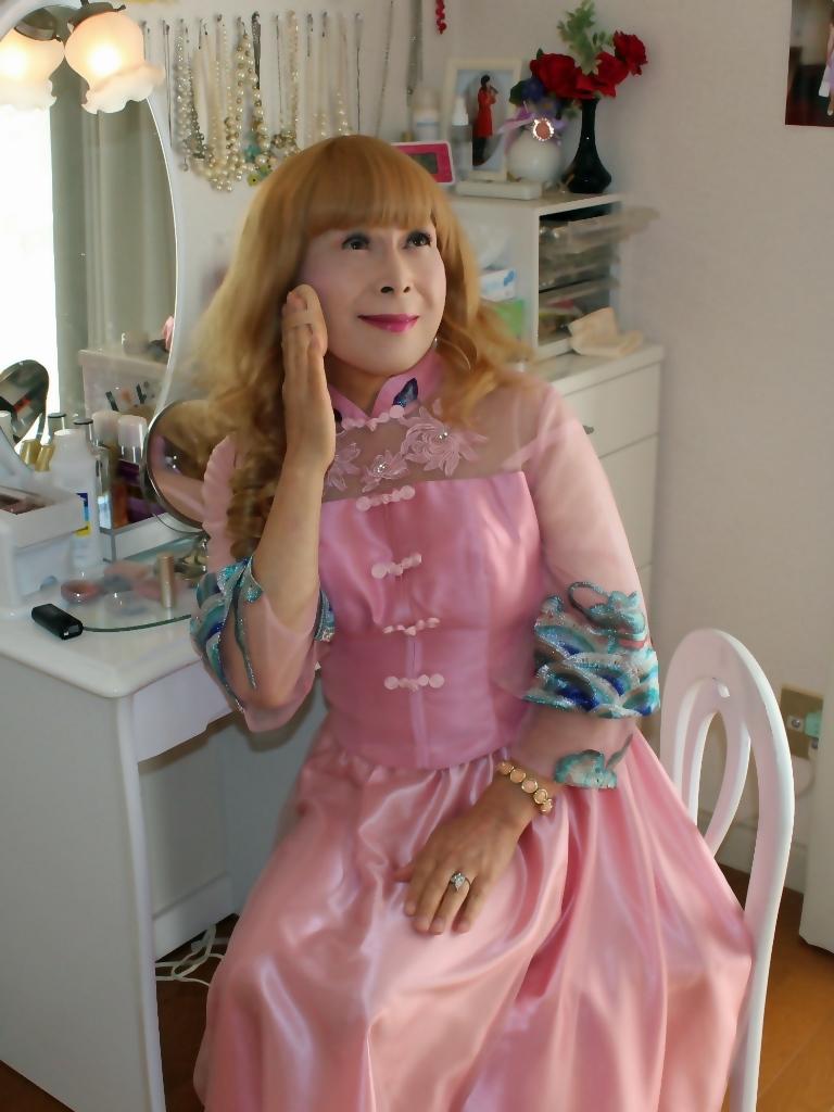 ピンクのチャイナ風ドレスD(7)