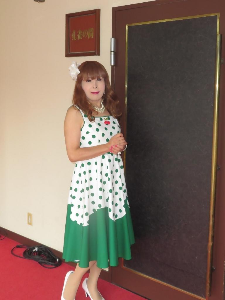 緑ドット柄ワンピドレス紫雲閣D(5)