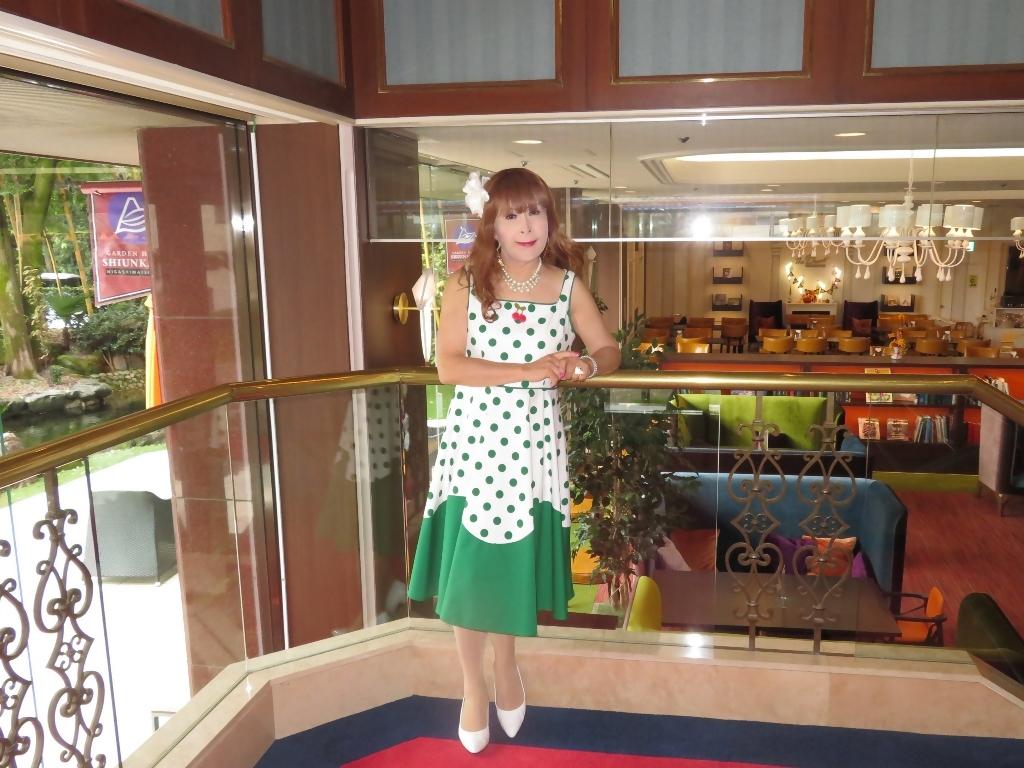 緑ドット柄ワンピドレス紫雲閣D(7)